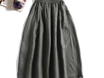 風合いを楽しむ リネン100%ロングスカート カーキ 190705-2の画像