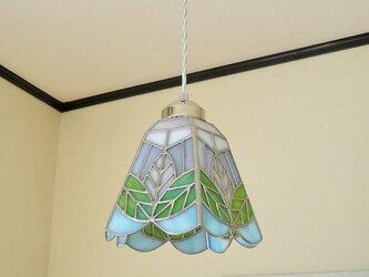 リーフ(葉っぱの模様B)ステンドグラスペンダントライト 吊り下げ照明・ガラス Lサイズ・32の画像