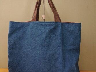 「再販」もち手が柿渋染め・藍染め帆布バッグの画像