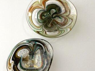 スウィーツマーブル泡彩/ガラス平皿/器の画像