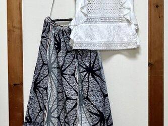浴衣リメイクフレアーギャザースカートの画像