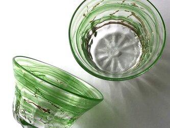 緑彩箔器  /ガラス皿/ガラスボール/かき氷皿の画像