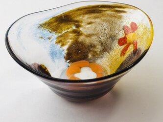 花柄器/ガラス皿/ガラスボールの画像