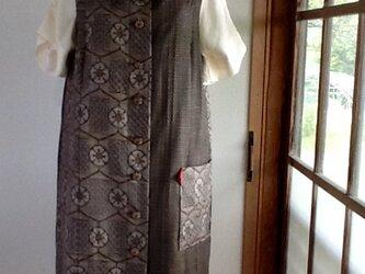 茶色の2種類 大島紬 ジャンパースカートの画像