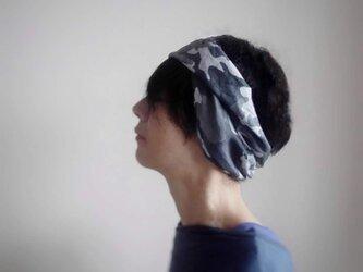 ターバンなヘアバンド カモフラージュ ブルーグレー系 送料無料の画像