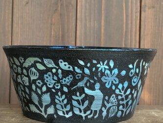 Kakiotoshi large bowl -鳥飼いの画像