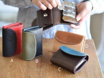 【カラーオーダー】ミネルバボックスとブッテーロお好きな色で作る 手のひらサイズの小さなコインキャッチャー付き財布の画像
