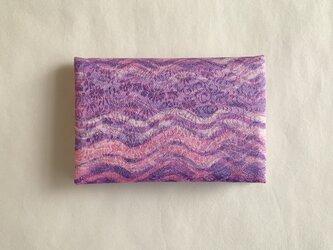 絹手染カード入れ(波・ピンク渋紫)の画像
