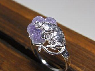 グレープカルセドニーと猫 * Chalcedony & Cat Ring 4粒の画像