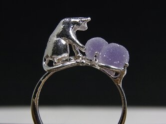 グレープカルセドニーと猫 * Chalcedony & Cat Ring 2粒の画像