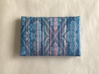 絹手染カード入れ(縦・渋青サーモンピンク)の画像