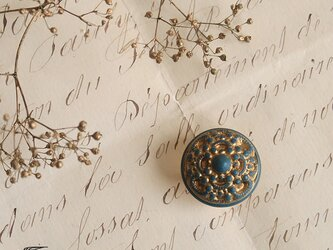 フランス・ヴィンテージボタンの帯留◎ ブルーグレー×ゴールド_B【送料無料】の画像