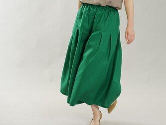 【wafu】薄地 リネン ワイドパンツ 袴パンツ ウエストゴム ポケット付 / フィヨルドグリーン b002h-fgn1の画像