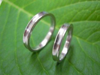 ハンドメイド結婚指輪☆粗仕上げ&しゃくれた凹デザインの画像