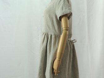 ウェスト切り替え半袖ワンピース(キナリ)の画像
