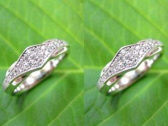ハンドメイド結婚指輪☆ダイヤ散りばめ&お洒落で斬新な印台の画像