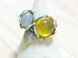 ラブラドライトとアンバー(琥珀)のリング(真鍮/リング)の画像