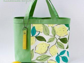 一点もの!デザイナーズデザイン・レモン柄と黄緑無地のトートバッグの画像