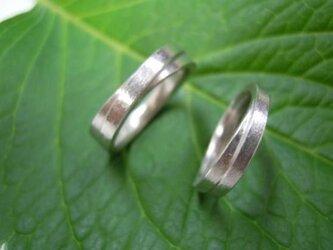 ハンドメイド結婚指輪☆二連風★プラチナ極太・粗仕上げの画像