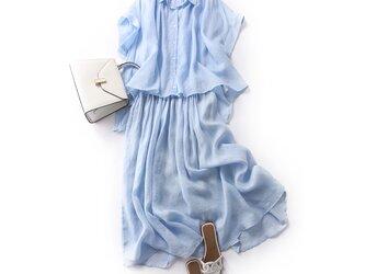 ひんやり涼しいリネンセットで夏を乗り切る!お得な二点セット ブラウス+スカート 水色の画像
