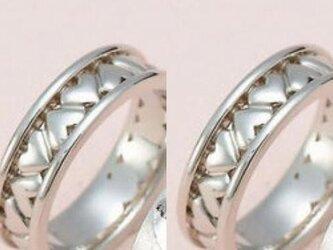 極太!ハンドメイド結婚指輪☆ハートの最高峰!ぐるり一周の画像