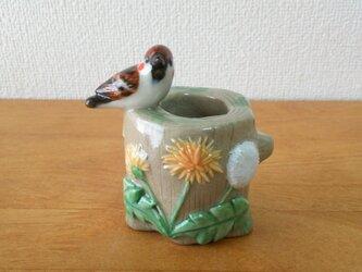 ペンスタンド(陶)雀とたんぽぽの画像