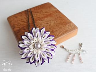 流れ星✥つまみ細工 紫 かんざし 花簪・浴衣・和装小物・髪飾りの画像