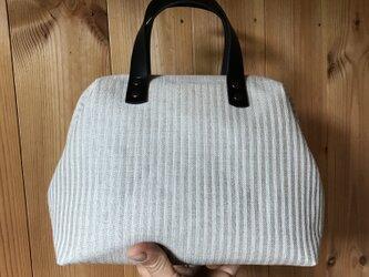 Boston bag S size [Växbo Lin]  Sweden 白と生成りのストライプの画像