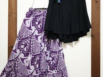 受注生産 コットンプリント たっぷりフレアースカートの画像