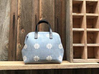 Boston bag S size [Växbo Lin]  Sweden 青にクロスの画像