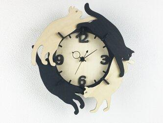 「ねこ」木製掛け時計の画像