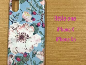 【リバティ生地】ドーセット・ローズ水色 iPhoneX & iPhoneXsの画像