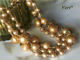 【Vermeil】スワロ×ゴールドライン入りセミラウンド淡水パールグリフィンロングネックレスの画像