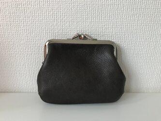 ダブルながまぐちでお部屋がふたつの本革ミニ財布【グレーレザー】の画像