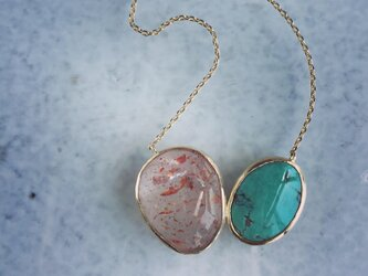 Turquoise & strawberry quartz pendant [OP718K10YG]の画像