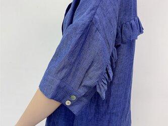 en-en ・リネン背フリルシャツ・青(羽織にも)の画像