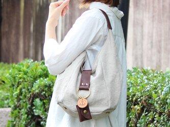 polta-mini(linen)ダークブラウン(リネン帆布×杤木ワンショルダーバッグ)の画像