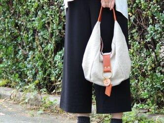 polta-mini(linen)レッドブラウン(リネン帆布×杤木ワンショルダーバッグ)の画像
