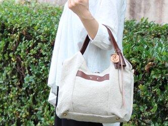 tanton-mini(linen)ダークブラウン(リネン帆布×杤木トートバッグ)の画像