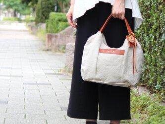tanton-mini(linen)レッドブラウン(リネン帆布×杤木トートバッグ)の画像