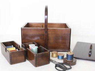 趣味の道具箱がインテリアに『ふた付きソーイングボックス』 No.1926の画像