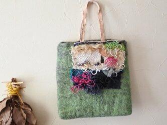 手織りコラージュミニバッグ 【エメラルドグリーン】の画像
