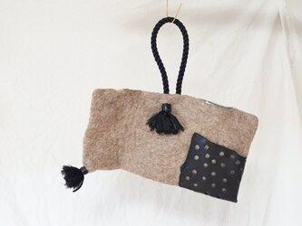 フェルトと本革のコラージュミニバッグ 【ブラック】の画像