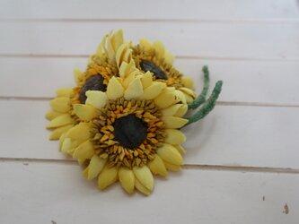 布花 ひまわりのコサージュL (今月の花シリーズ) 7月の花の画像