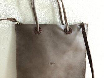 本革 手縫いpeco bag 2way (グレー)の画像