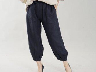 【wafu】やや薄地 柔らかい リネン パンツ 裾タック ボトムス ヨガパンツにも / ネイビー b013a-neb1の画像