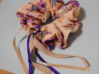 コットンガーゼとレースのシュシュ(紫薔薇の海月姫)の画像