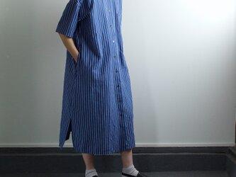 original cotton linen stripe/ one piece/blueの画像