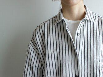 original cotton linen stripe/ one piece/whiteの画像