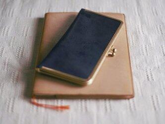 真鍮使いの口金ペンケース(2本用)/ブラック×リーフグリーンの画像